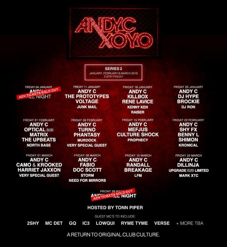 Full line up and evening splits revealed for Andy C's return to XOYO!